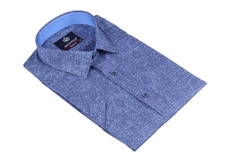 Мужская стильная рубашка в рисунок, короткий рукав  (Арт. T 3433К)