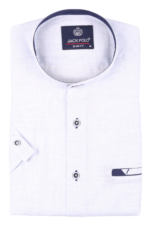 Мужская однотонная рубашка с воротником стойка, короткий рукав  (Арт. T 3435К)