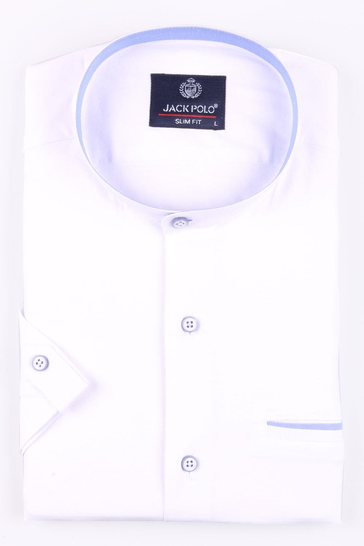 Мужская однотонная рубашка с воротником стойка, короткий рукав  (Арт. T 3442К)