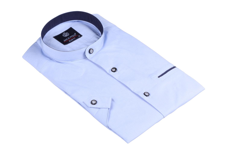 Мужская однотонная рубашка с воротником стойка, короткий рукав  (Арт. T 3444К)