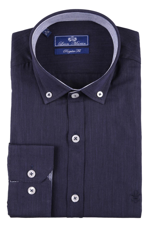 Стильная мужская однотонная рубашка, длинный рукав  (Арт. T 3482)