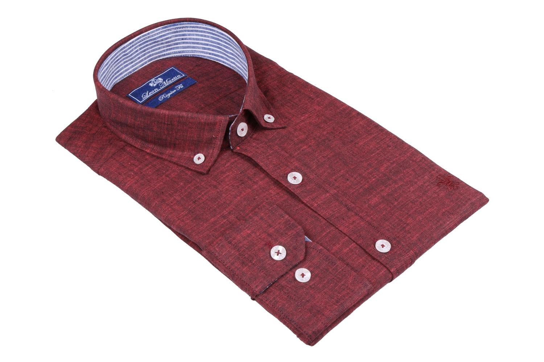 Стильная мужская однотонная рубашка, длинный рукав  (Арт. T 3485)