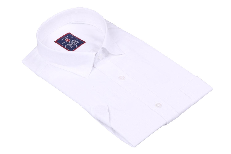 Классическая мужская однотонная рубашка, короткий рукав  (Арт. T 3506)