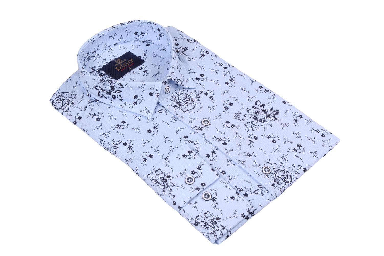 Стильная мужская рубашка в рисунок, длинный рукав  (Арт. T 3521)