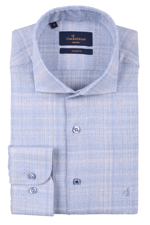 Стильная мужская однотонная рубашка, длинный рукав  (Арт. T 3525)