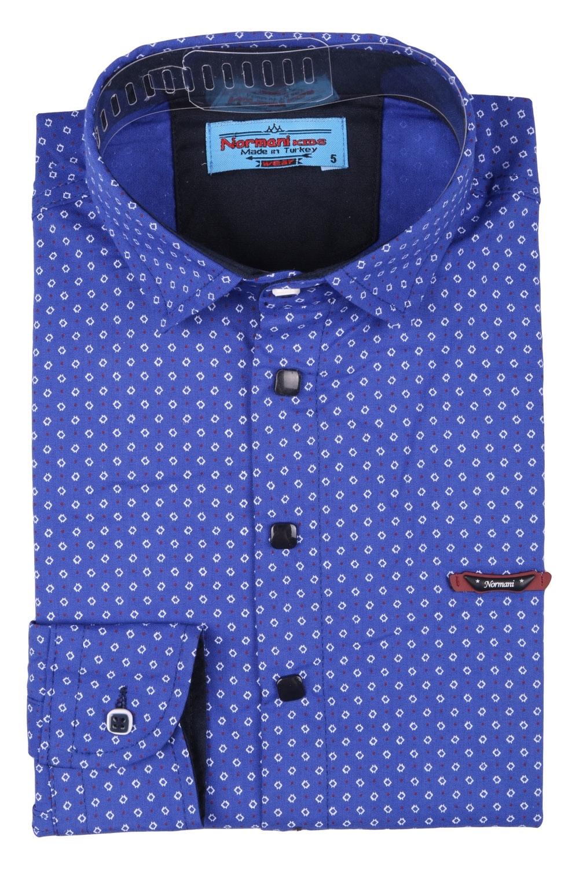 Детская рубашка синего цвета в мелкий белый узор, длинный рукав (Арт. TB 3559)