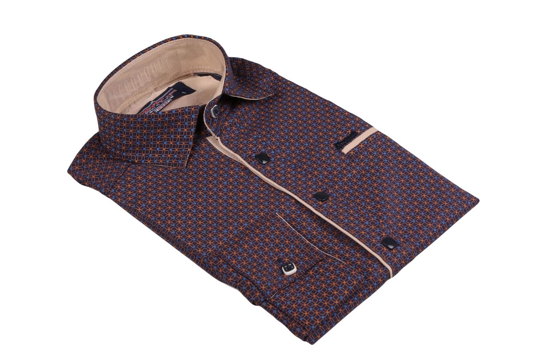 Детская рубашка в мелкий узор, длинный рукав (Арт. TB 3563)