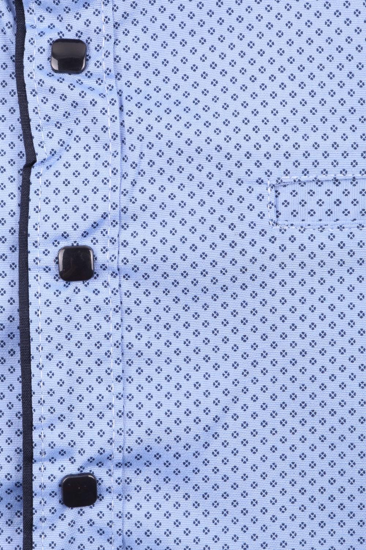 Детская рубашка голубого цвета в мелкий узор, длинный рукав (Арт. TB 3574)