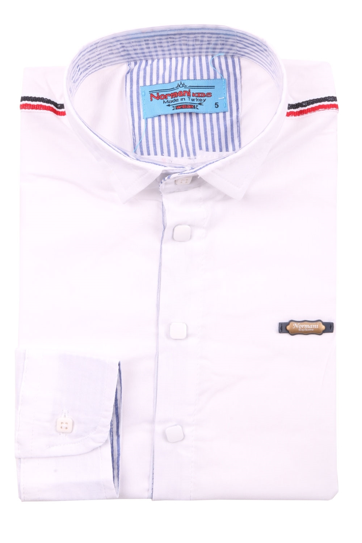 Детская рубашка белого цвета, длинный рукав (Арт. TB 3577)