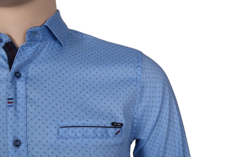 Cтильная мужская рубашка в мелкий рисунок, длинный рукав  (Арт. T 3538)