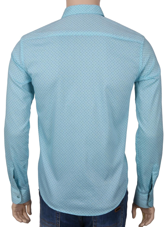 Cтильная мужская рубашка в мелкий рисунок, длинный рукав  (Арт. T 3541)
