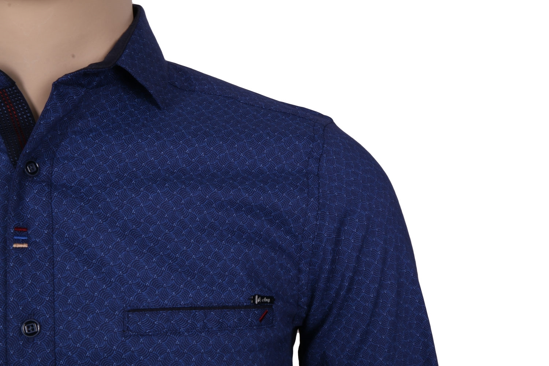 Cтильная мужская рубашка в мелкий рисунок, длинный рукав  (Арт. T 3542)