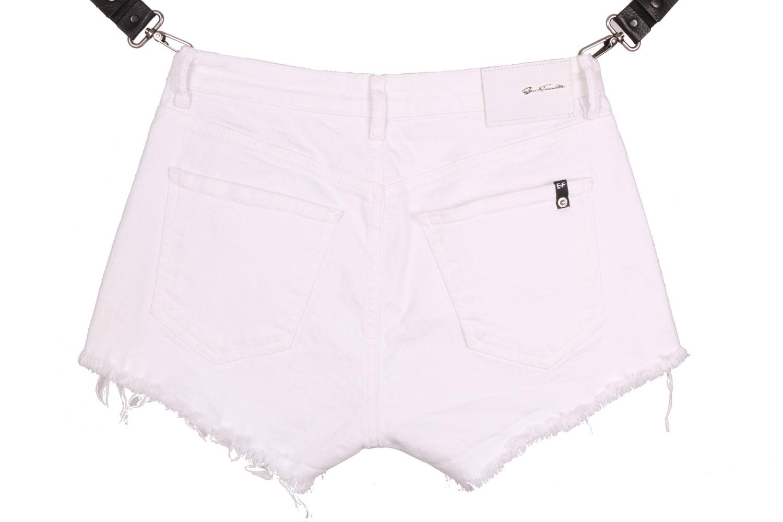 Женские джинсовые белые шорты с декоративными боковыми змейками (Арт. W SH 3603)