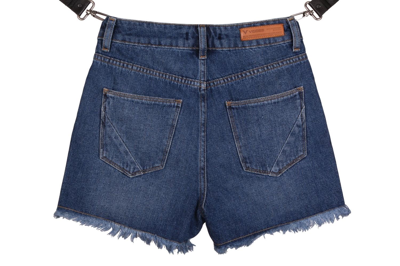 Женские джинсовые синие шорты с принтом (Арт. W SH 3606)