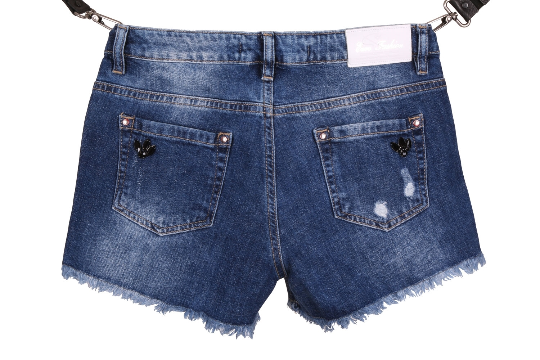Женские джинсовые синие шорты с потертостями (Арт. W SH 3607)