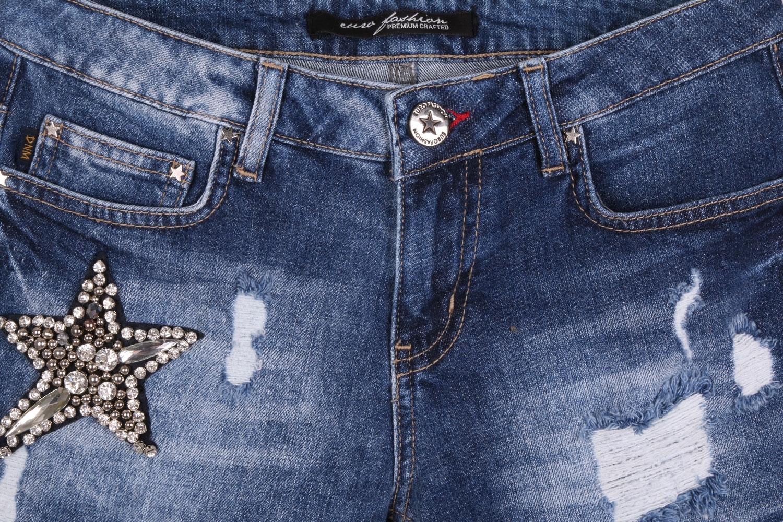 Женские джинсовые синие шорты с потертостями (Арт. W SH 3608)
