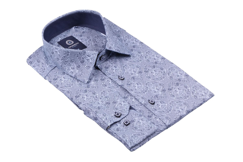 Cтильная мужская рубашка в рисунок, длинный рукав  (Арт. T 3634)