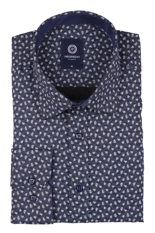 Cтильная мужская рубашка в рисунок, длинный рукав  (Арт. T 3639)