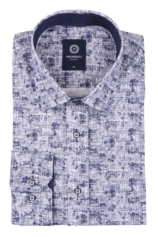 Cтильная мужская рубашка в рисунок, длинный рукав  (Арт. T 3647)