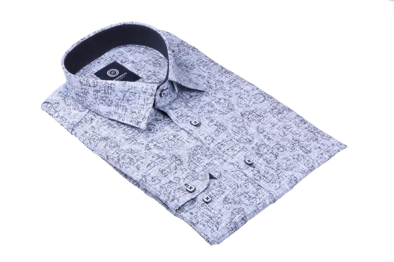 Cтильная мужская рубашка в рисунок, длинный рукав  (Арт. T 3650)