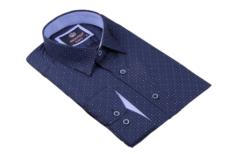 Cтильная мужская рубашка в рисунок, длинный рукав  (Арт. T 3675)