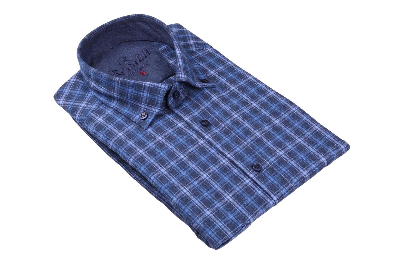 Классическая кашемировая рубашка в клетку, длинный рукав  (Арт. T 3718)