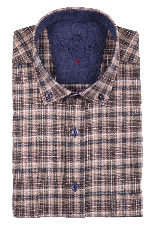 Классическая кашемировая рубашка в клетку, длинный рукав  (Арт. T 3721)