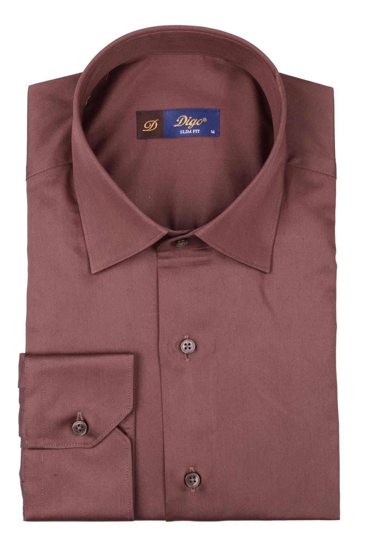 Cтильная мужская однотонная рубашка, длинный рукав  (Арт. T 3960)
