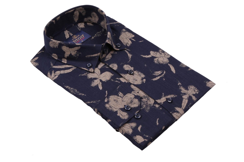 Cтильная мужская рубашка в рисунок, длинный рукав  (Арт. T 3962)