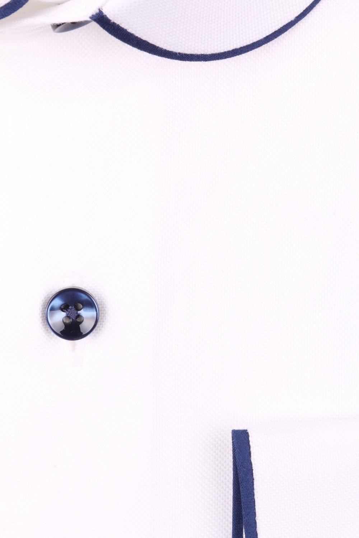 Cтильная мужская рубашка с окантовкой по воротнику, длинный рукав  (Арт. T 3972)