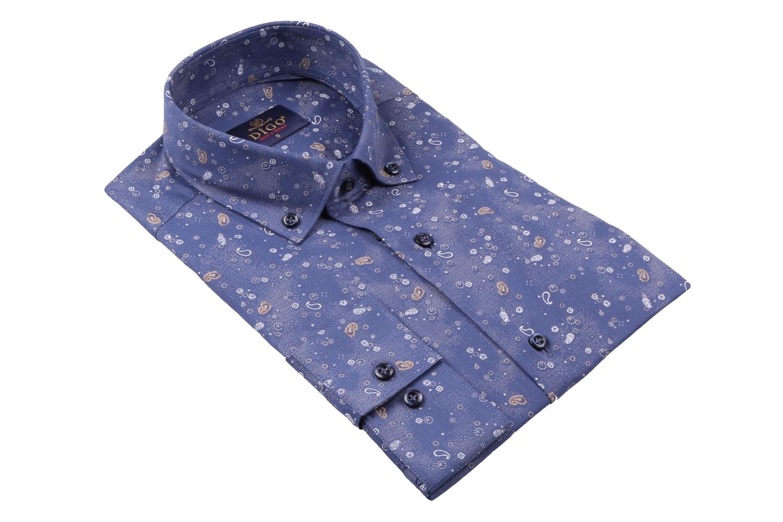 Cтильная мужская рубашка с рисунком, длинный рукав  (Арт. T 3980)