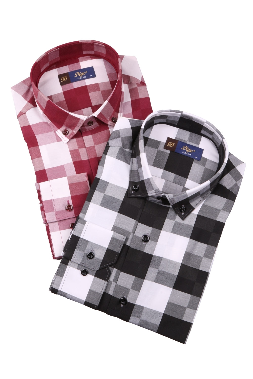 Cтильная мужская рубашка в клетку, длинный рукав  (Арт. T 3981)