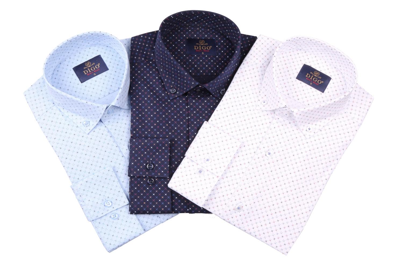 Cтильная мужская рубашка в мелкий рисунок, длинный рукав  (Арт. T 3984)