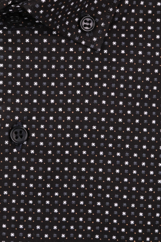 Cтильная мужская рубашка в мелкий рисунок, длинный рукав  (Арт. T 3986)