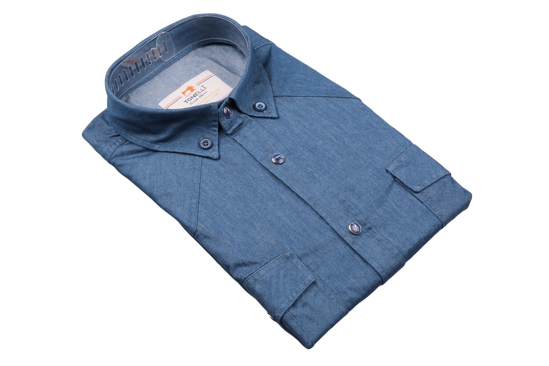 Джинсовая мужская рубашка, длинный рукав-трансформер  (Арт. T 4058)