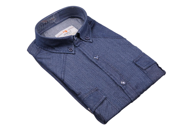 Джинсовая мужская рубашка, длинный рукав-трансформер  (Арт. T 4060)