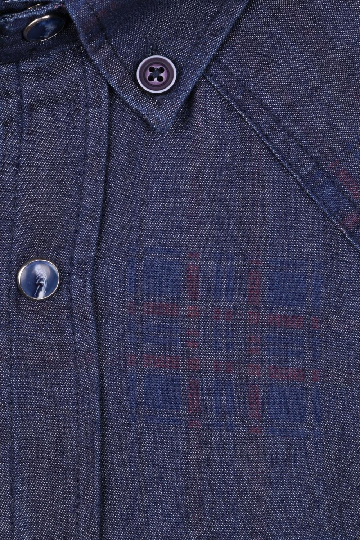 Джинсовая мужская рубашка, длинный рукав-трансформер  (Арт. T 4061)
