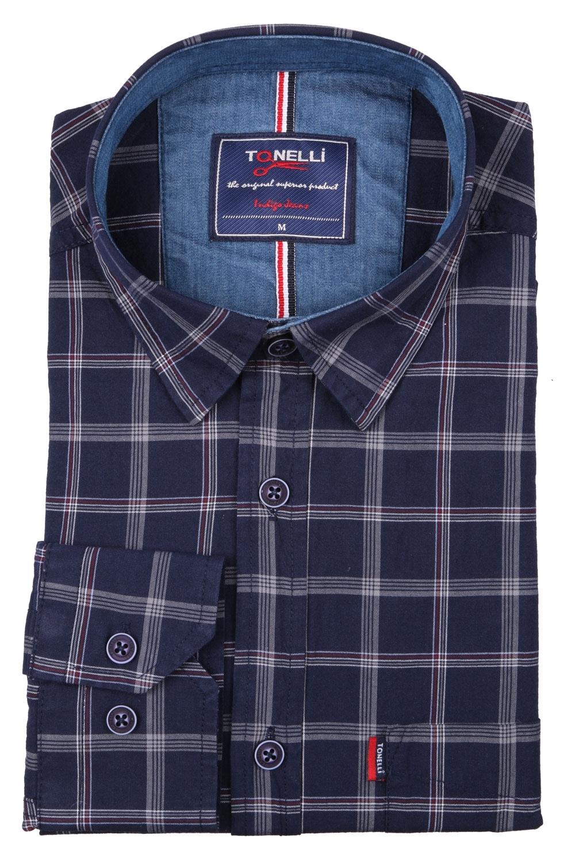 Классическая мужская рубашка в клетку, длинный рукав (Арт. T 4063)