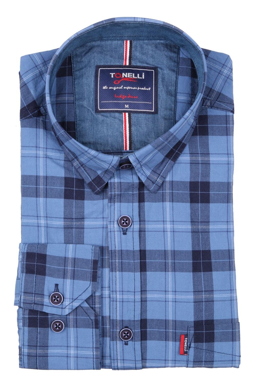 Классическая мужская рубашка в клетку, длинный рукав (Арт. T 4066)