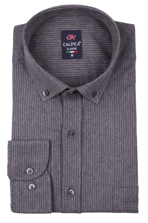 Классическая кашемировая мужская рубашка в полоску, длинный рукав (Арт. T 4000)
