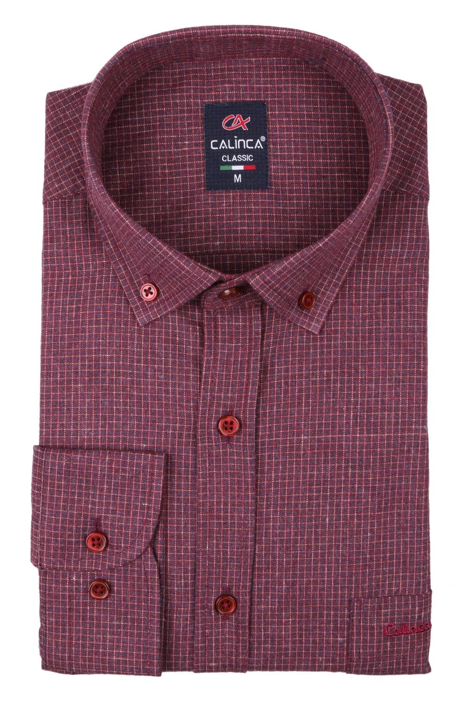Классическая кашемировая мужская рубашка в клетку, длинный рукав (Арт. T 4005)