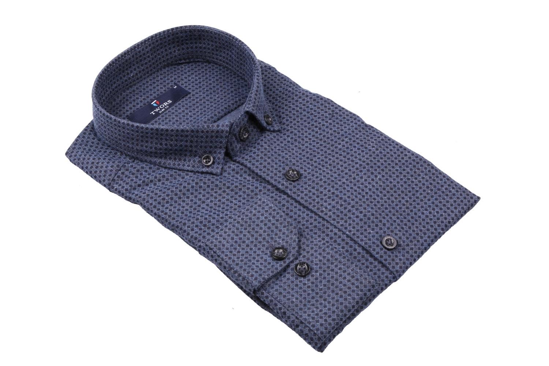Стильная мужская рубашка в рисунок, длинный рукав (Арт. T 4013)