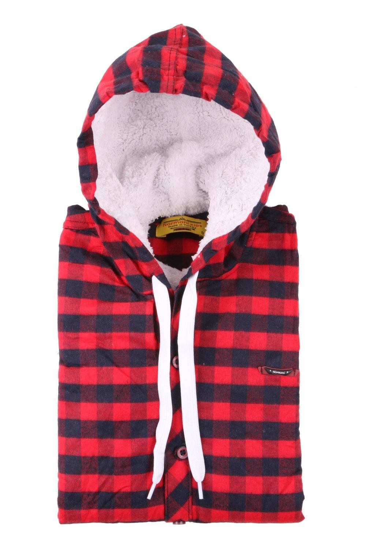 Детская рубашка в клетку утеплённая с капюшоном, длинный рукав (Арт. TB 4158)