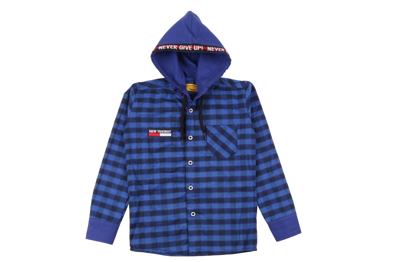 Детская рубашка в клетку с капюшоном, длинный рукав (Арт. TB 4217)
