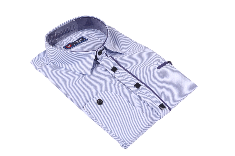 Детская рубашка в полоску с окантовкой по планке ,длинный рукав (Арт. TB 4223)
