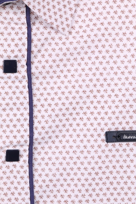 Детская рубашка в мелкий рисунок с окантовкой по планке, длинный рукав (Арт. TB 4231)