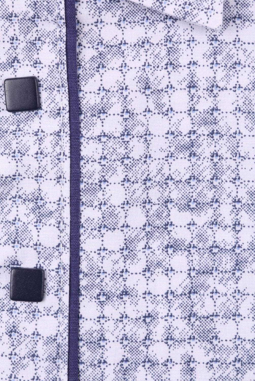 Детская рубашка в мелкий рисунок с окантовкой по планке, длинный рукав (Арт. TB 4249)