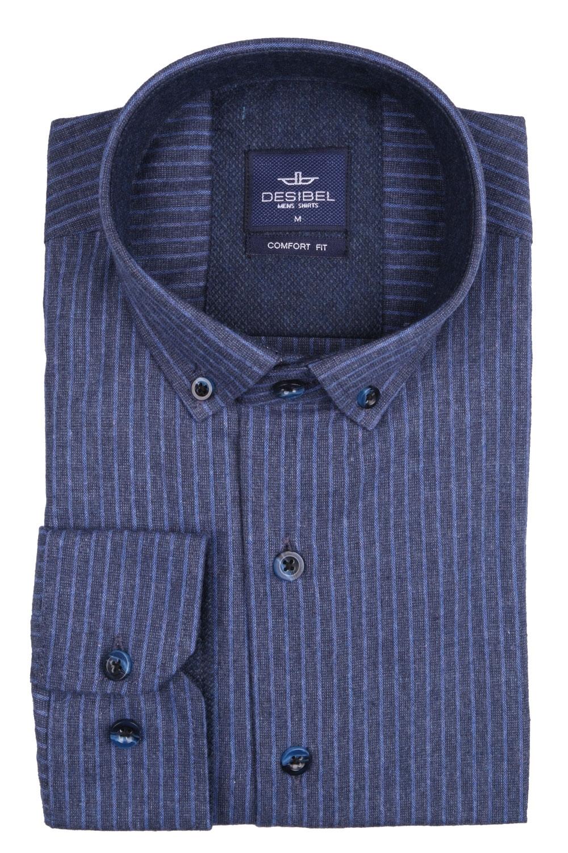 Мужская классическая рубашка в полоску, длинный рукав (Арт. T 4138)