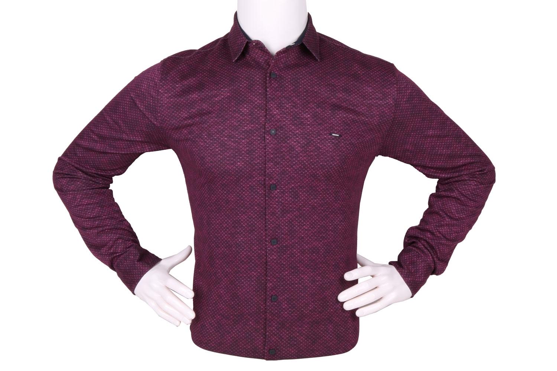 Стильная мужская рубашка в мелкий рисунок, длинный рукав (Арт. T 4259)