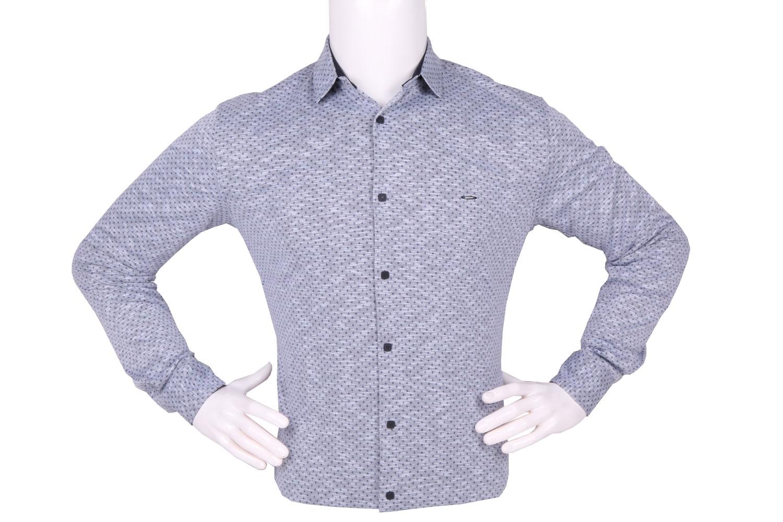 Стильная мужская рубашка в мелкий рисунок, длинный рукав (Арт. T 4262)